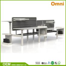Four Person Height Adjustable Office Furniture Table