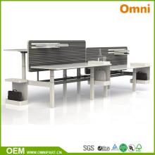 Mesa ajustable de cuatro personas para muebles de oficina