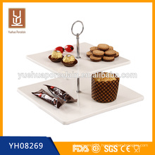 wholesale 2 tier white porcelain square cake plate stand with metal handle