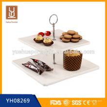 Оптовая 2-х уровневая белая фарфоровая подставка для тортов