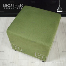 Antique fabric cube tufted footstool Ottoman stool for living room