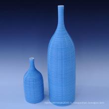 Творческая ручная глазурованная синяя керамическая ваза для цветов Использование для домашнего хозяйства (PA01)