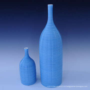 Creative Handmade Glazed Blue Ceramic Flower Decoration Vase Use for Household (PA01)