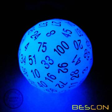 Bescon Glowing Polyhedral 100 Sides Dice Acid Blue, Luminous D100 Dice, 100 Sided Cube, Glow in Dark D100 Game Dice