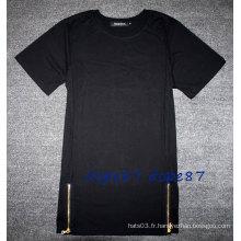 Black Plain Sides Zipper T-Shirt Longueur Extendent le style