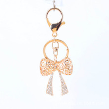 lovely star gold plate 3D Bow keychain metal alloy clear crystal hollow bow fashion key rings