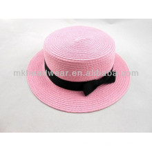 Colorful Female Paper Straw Sun Beach Dome Hat with Bowknot