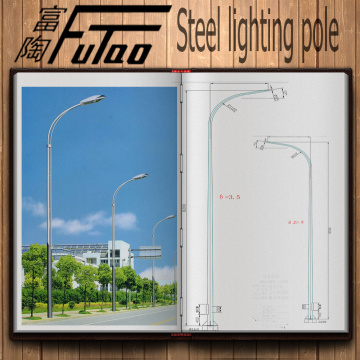 6m Single Arm Lighting Steel Poles