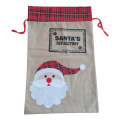 Großer Weihnachtsleinensack mit Sankt-Muster