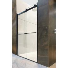 Черная алюминиевая раздвижная дверь со стеклянной душевой комнатой