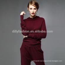 Kaschmir-Trainingsnazugfrauen-Hoodieanzug Großverkauf