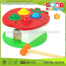 Red Apple Box Hammering Ball Game Good Wooden Toys