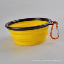 A tigela dobrável de silicone portátil para animais de estimação