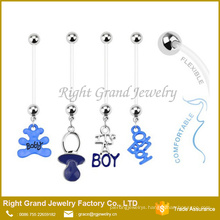 Custom Pregnancy Bio Flex Flexible Assorted Cherry Belly Button Rings