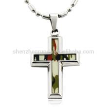 Großhandel Mode Camouflage Patten mit Kreuz Anhänger Edelstahl Halsketten Schmuck