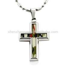 Wholesale Fashion Camouflage Patten with Cross Pendant Stainless Steel Necklaces Jewelry
