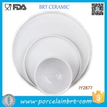 Set de 3 assiettes en porcelaine blanche et assiettes en céramique