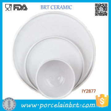 Set of 3 White Porcelain Dishes and Plates Ceramic