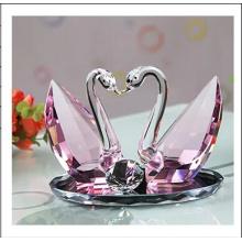Pink Crystal Swan Set para la decoración de regalos de boda (ks03045)