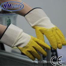 NMSAFETY forro jersey coted látex luva de segurança de volta aberta