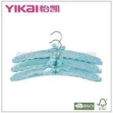 Set of 3pcs light blue satin padded hanger with lace decorated