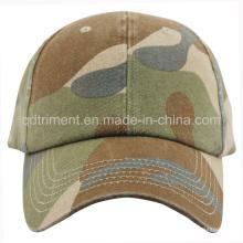 Pesado lavado camoflage chino twill deporte gorra de béisbol (TMB1268)