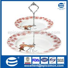 Schöne Hochzeits-Servier-Tablett 2 abgestufte weiße Porzellankuchen-Stand
