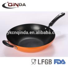 Duas alças antiaderente fritar wok com tampa de vidro tempempered