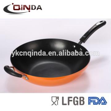 Poêle à frire antiadhésive à deux poignées avec couvercle en verre trempé