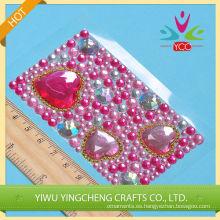 En forma de corazón rosado rinestone portátil pegatinas 2016 moda Navidad alibaba china proveedor