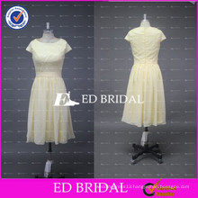 ED Bridal Factory Custom Made Crew Neck Lace Bodice Chiffon Tea Length Yellow Bridesmaid Dress 2017