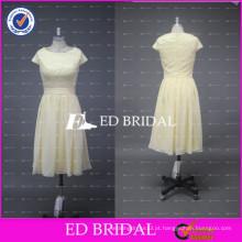ED Bridal Factory Custom Made Crew Neck Lace Bodice Chiffon Tea Length Amarelo vestido de dama de honra 2017
