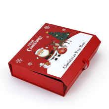 Custom Xmas Hardcover Box For Present Packing Luxury Cardboard Can be Flat Packaging Foldable Red Christmas Boxes for Eve