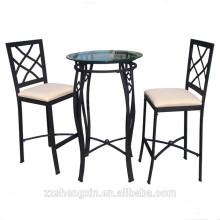 Glas-Top-Stahl Rundstab Tisch und Stuhl Set