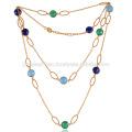 Bunte Onyx & Lapis Edelsteine vergoldeten Silber Kette Halskette Schmuck zum besten Preis