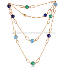Colourful Onyx & Lapis Gemstones Gold Plated Silver Chain Necklace Jewelry at Best Price
