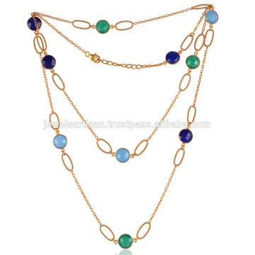 Onyx coloridos e Lapis Gemstones Gold Plated Silver Chain Necklace Jewelry ao melhor preço