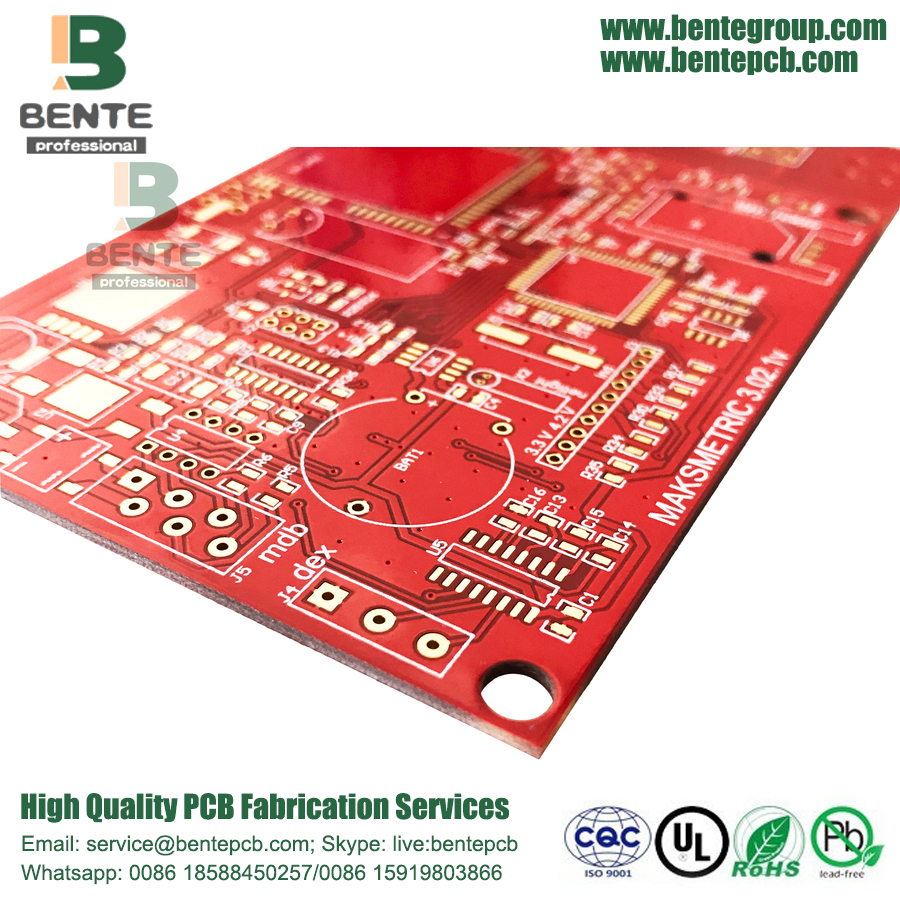 "Red Ink 4 Camadas PCB IT180 Alto TG PCB ENIG 3u ""Thick Gold"