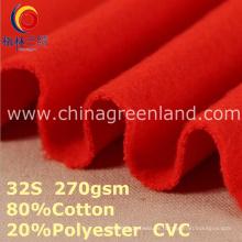 Tela hecha punto poliéster del algodón de CVC para la ropa de deportes de la materia textil (GLLML384)