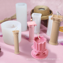 crafts supplies statue making molded DIY handmade roman column wax candle molds silicone 3d