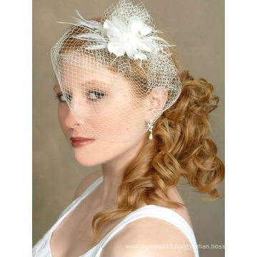 2014 New Arrival Stunning Net Ivory Bird Cage With Feather Wedding Veils