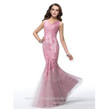 Alibaba Elegant Applique Long New Designer V Neck Soft Lace Mermaid Evening Dresses Or Bridesmaid Dress LE10