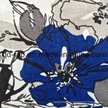 100% Linen flores impresso tecido (QF13-0261)