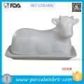 White Cow Shape Kitchen Beef Porcelain Buter Dish