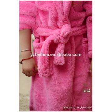 peignoir de flanelle ouatine de corail mou pour les enfants, les enfants ployester peignoir