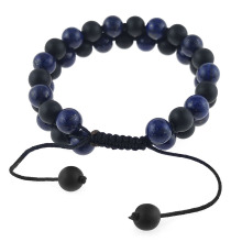 Make your own black blue agate bead bracelet