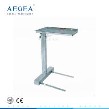 AG-SS008B Tablett-Ständer mit einem Pfosten höhenverstellbarer Krankenhauswagen aus Edelstahl