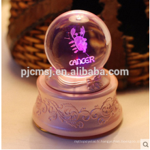 Boîte à musique en gros de boules de cristal avec le logo gravé par laser de 3D pour le cadeau de souvenirs