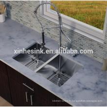 Évier de cuisine double en acier inoxydable SUS 304 de calibre zéro rayon fait à la main, lavabo carré de degré