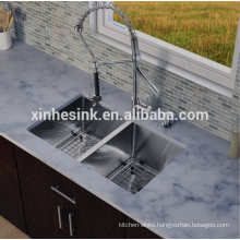 Handmade Zero Radius Stainless Steel SUS 304 Gauge 18/8 Double kitchen Sink, Square Degree Wash Basin